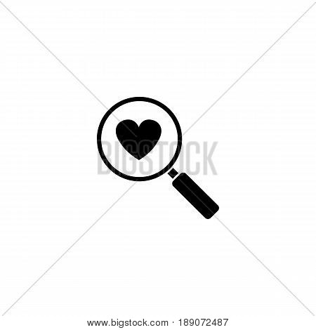 Magnifier with heart solid icon, Love searching, Valentine's day, love concept, vector graphics, a filled pattern on a white background, eps 10.