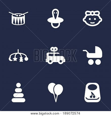 Set Of 9 Baby Icons Set.Collection Of Teat, Air Balloon, Girl And Other Elements.