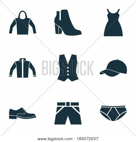 Dress Icons Set. Collection Of Waistcoat, Cardigan, Trilby And Other Elements. Also Includes Symbols Such As Underpants, Cardigan, Footwear.