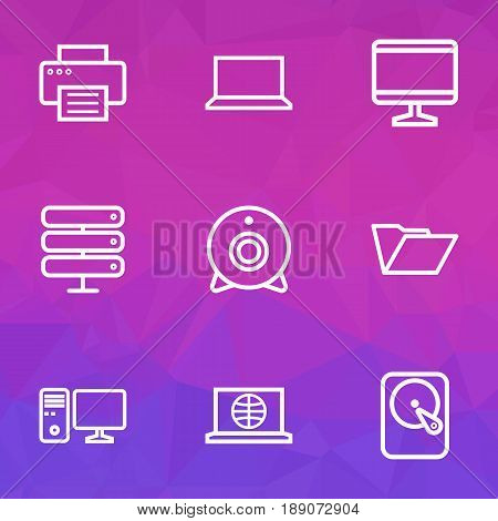 Computer Outline Icons Set. Collection Of File, Camera, Laptop And Other Elements. Also Includes Symbols Such As Personal, Datacenter, Hard.