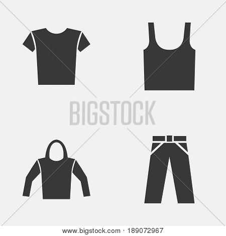 Garment Icons Set. Collection Of Sweatshirt, Singlet, Casual And Other Elements. Also Includes Symbols Such As Tank, Wear, Pants.