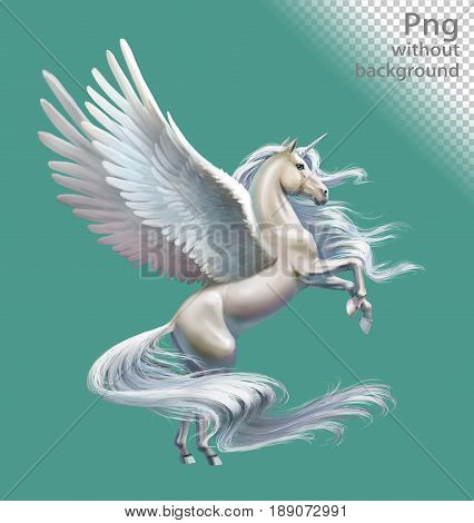 White pegasus with horn, png without background
