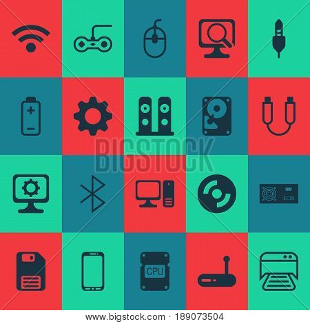 Hardware Icons Set. Collection Of Hdd, Portable Memory, Blank Cd And Other Elements. Also Includes Symbols Such As Desktop, Detection, Wireless.