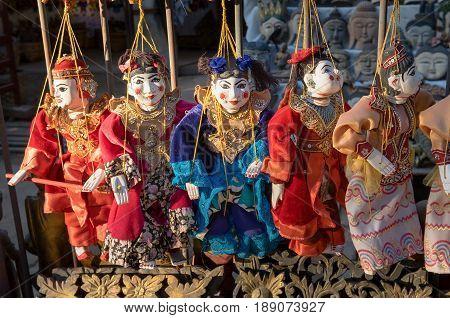 Traditional handicraft puppets souvenir in Mandalay Myanmar
