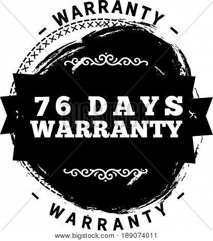 76 days warranty icon vector vintage grunge guarantee background