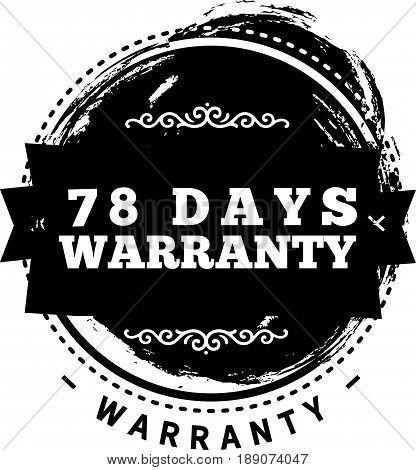 78 days warranty icon vector vintage grunge guarantee background