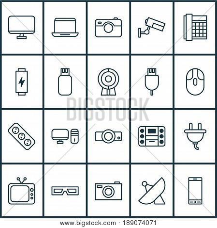 Hardware Icons Set. Collection Of Extension Cord, Boombox, Surveillance And Other Elements. Also Includes Symbols Such As Plug, Projector, Music.