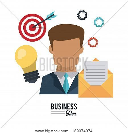 colorful poster of half body businessman with light bulb and mail and pinions and target with arrow vector illustration