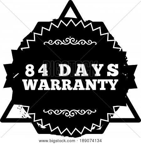 84 days warranty icon vector vintage grunge guarantee background