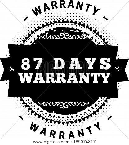 87 days warranty icon vector vintage grunge guarantee background