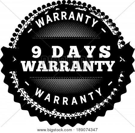 9 days warranty icon vector vintage grunge guarantee background