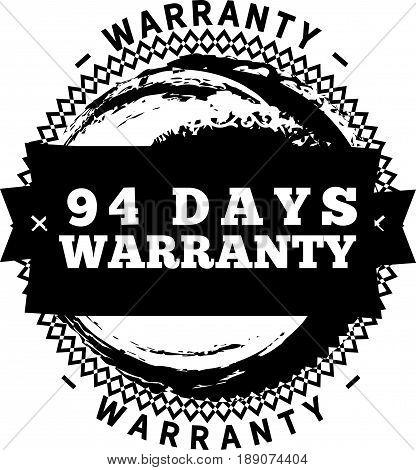 94 days warranty icon vector vintage grunge guarantee background
