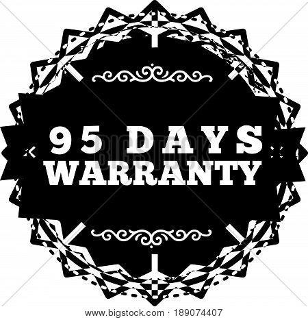95 days warranty icon vector vintage grunge guarantee background