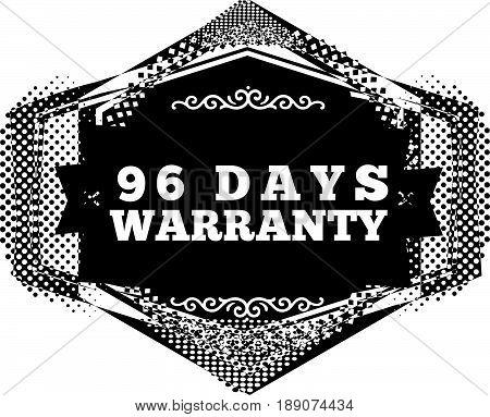 96 days warranty icon vector vintage grunge guarantee background