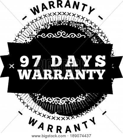 97 days warranty icon vector vintage grunge guarantee background
