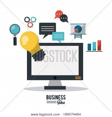 colorful poster of business idea with desktop computer and several business icons vector illustration