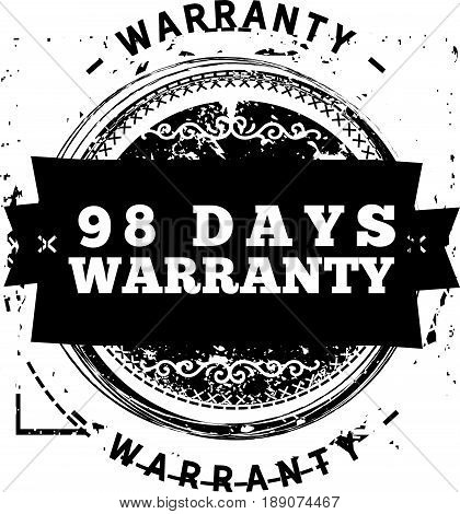 98 days warranty icon vector vintage grunge guarantee background