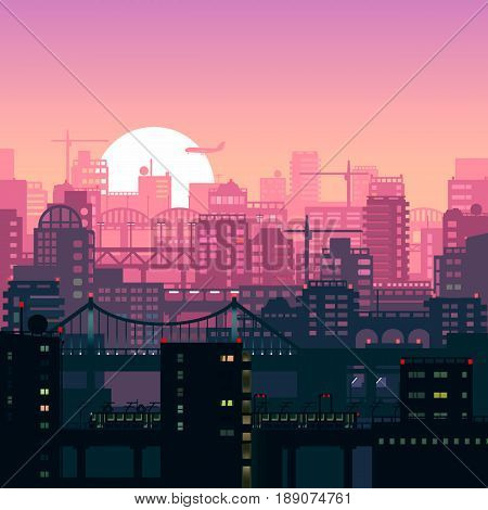 illustration of urban houses and sites in pink sunset lights.