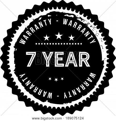 7 year warranty icon vector vintage grunge guarantee background