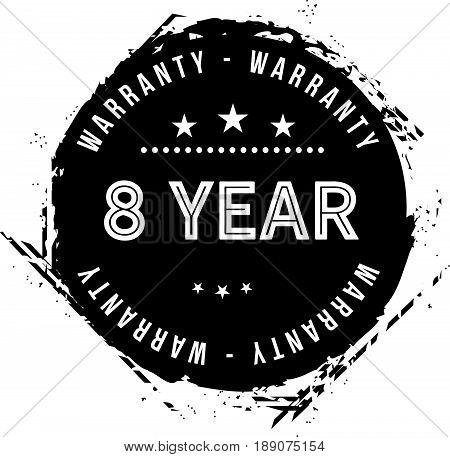 8 year warranty icon vector vintage grunge guarantee background