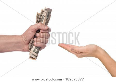 Male hand squeezing tightly some banknotes, on white background