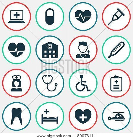 Medicine Icons Set. Collection Of Disabled, Analyzes, Device And Other Elements. Also Includes Symbols Such As Analyzes, Hospital, Pellet.