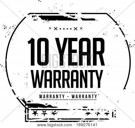 10 year warranty icon vector vintage grunge guarantee background