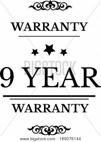 9 year warranty icon vector vintage grunge guarantee background