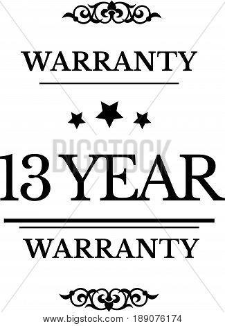 13 year warranty icon vector vintage grunge guarantee background