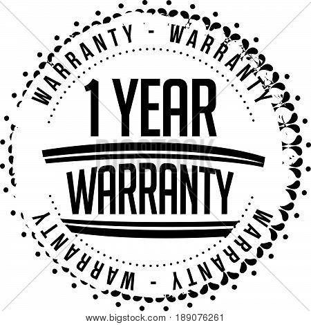 1 year warranty icon vector vintage grunge guarantee background