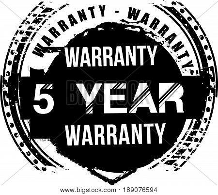 5 year warranty vintage grunge rubber stamp guarantee background