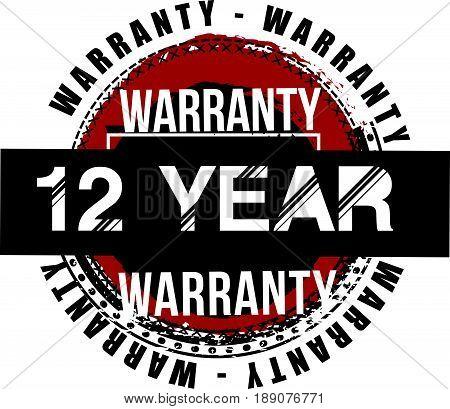 12 year warranty vintage grunge rubber stamp guarantee background