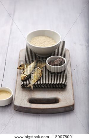 Bowl of rice with grilled fish