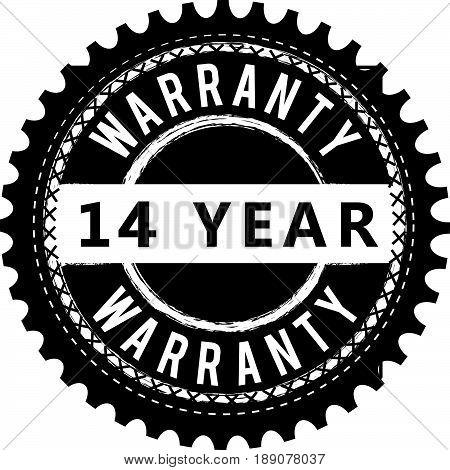 14 year warranty vintage grunge rubber stamp guarantee background