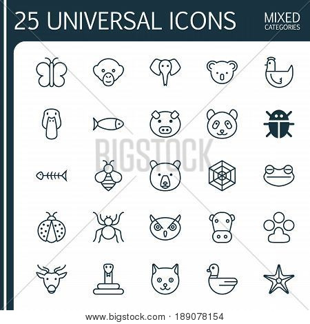 Zoo Icons Set. Collection Of Hen, Bumblebee, Trunked Animal And Other Elements. Also Includes Symbols Such As Insect, Ladybird, Moth.