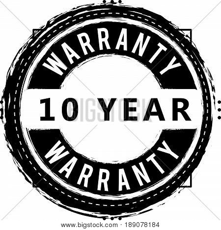 10 year warranty vintage grunge rubber stamp guarantee background