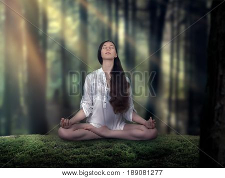 Beautiful girl doing yoga in the woods. Woman in Lotus position. The rays of the sun