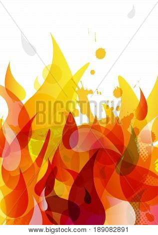 Abstract colored flame background with different shapes.