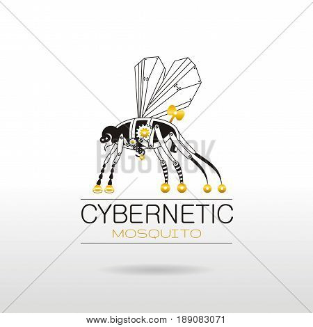 Cybernetic robot mosquito logo icon. Vector steampunk animal. Vintage insect monster illustration. Text lettering, silver background. Poster banner, retro design element, black golden nano silhouette