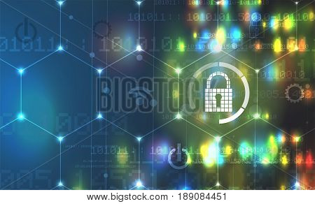 Cybersecurity And Information Or Network Protection. Future Technology Web Services For Business And