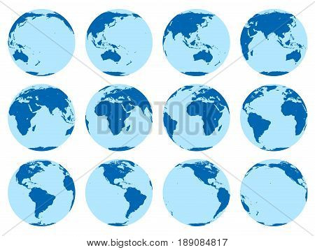 Vector set of 12 flat globes showing earth rotation in two hours period. 30 degrees rotation.