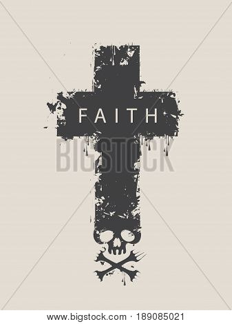 Christian cross with a skull and cross-bones with the spray droplets and word Faith