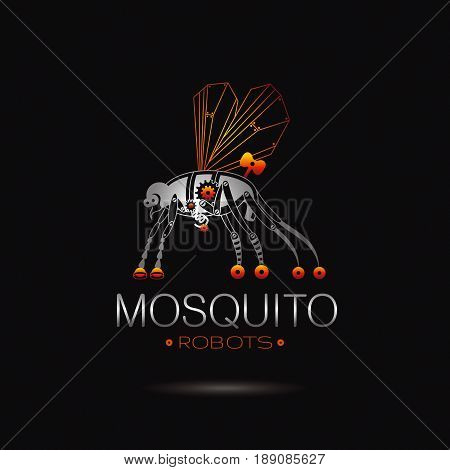 Cybernetic robot mosquito logo icon. Vector steampunk cyborg animal. Futuristic vintage insect monster illustration. Text lettering on black background. Nano technology placard poster design template