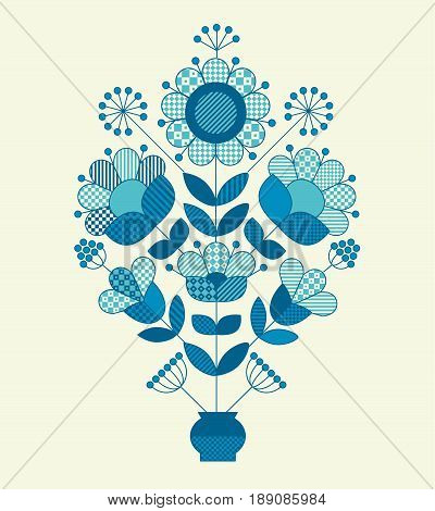 Vector flower horizontal design element template print and web design in peasant folk style. Abstract concept floral illustration in blue color.