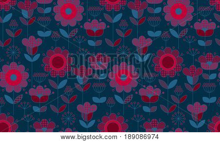 Rustic style decorative surface design inspired by traditional folk European ornaments. Deep blue and red seamless pattern for background, wrapping paper in boho vibes.