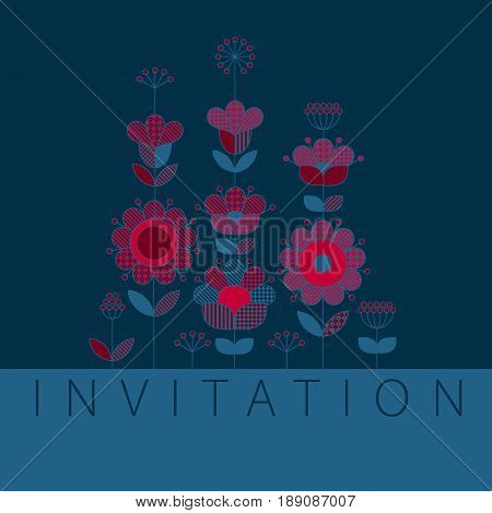 Deep blue and red pattern design elements for in boho style. Rustic decorative surface design inspired by traditional folk European ornaments for print and web cards, header, poster.