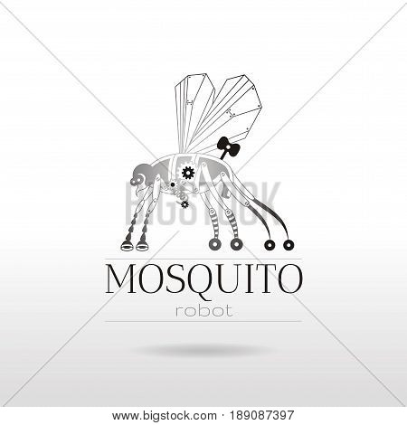 Cybernetic robot mosquito drone logo icon. Vector steampunk animal. Futuristic vintage insect monster illustration. Text lettering, white background. Technology symbol. Silver golden metalic gears