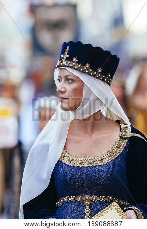 Asti, Italy - September 19, 2010: Medieval Princess, during the historic parade of the Palio of Asti in Piedmont, Italy- Lady of Middle Ages