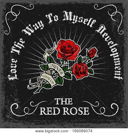 vintage rose poster print vector design with grunge texture and red rose drawn