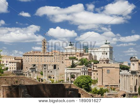 Roman Forum and Capitol Hill seen from Palatine Hill in the historic center of Rome
